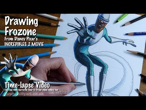 Drawing Frozone From Incredibles 2 Voiced By Samuel L Jackson Time-lapse