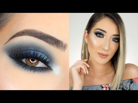 DARK BLUE SMOKEY EYE MAKEUP TUTORIAL