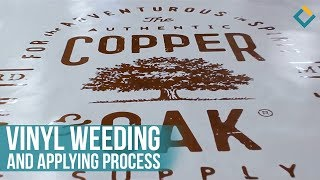 Weeding and Applying process of Vinyl Lettering on Acrylic Sign