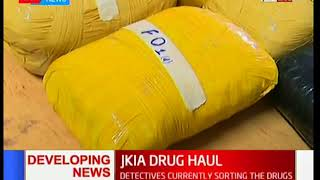 Developing News: Detectives sorting the drugs at JKIA