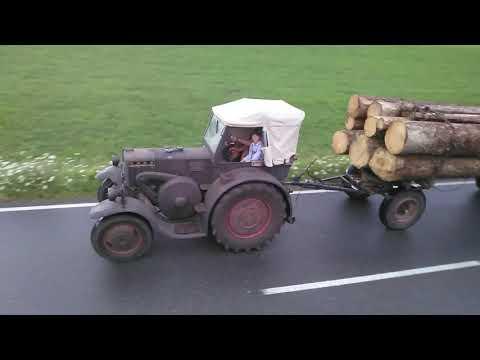 35er Eilbulldog Lanz Bulldog mit Langholz Heimfahrt von Karbach