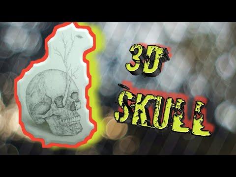 How to draw skull | 3d drawing | stripling art #3d #dotart #skull