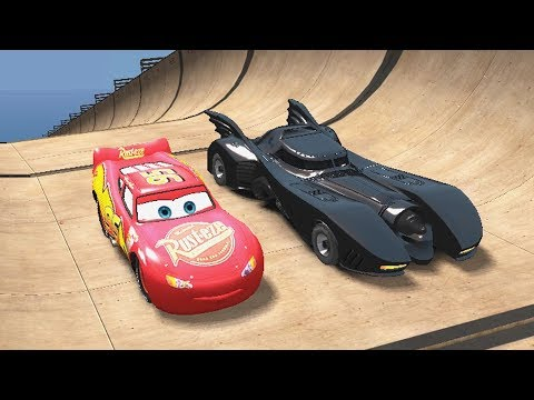 Disney Pixar Cars Lightning McQueen And Batmobile Have Fun With Spiderman And Batman