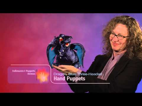 Dragon, Blue Three-headed Hand Puppet