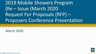 2019 Mobile Showers RFP Re-Release Proposers Conference Webinar