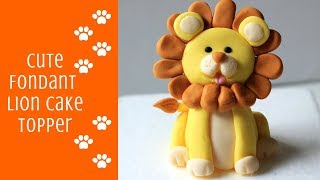 HOW TO MAKE A CUTE FONDANT LION CAKE TOPPER TUTORIAL | INTHEKITCHENWITHELISA