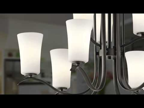 Video for Armida Brushed Nickel Nine-Light Chandelier