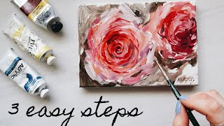 How To Paint A Rose Acrylics 🌹3 Easy Steps