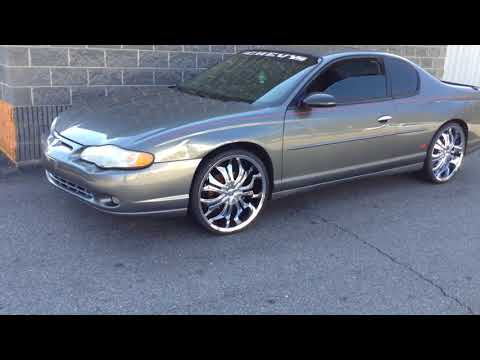 """2004 CHEVROLET MONTE CARLO SS ON 22"""" VCT GODFATHER CHROME WHEELS AND 235/30-22 FULLRUN TIRES"""
