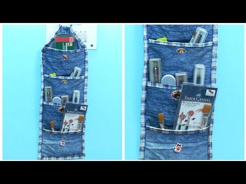 DIY Multipurpose Organizer form Old Jeans/Denim - Old Jeans Reuse Ideas