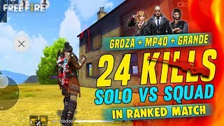 Epic 24 Kills in Solo vs Squad Gameplay - Garena Free Fire- Total Gaming Live