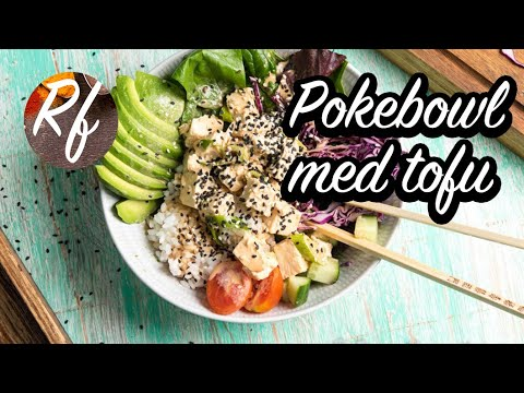 En vegetarisk och vegan Pokebowl med marinerad tofu.>