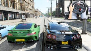 Forza Horizon 4 Online - Nissan GT-R & Mercedes-Benz AMG GT-R   Logitech g29 gameplay ft. Fastez