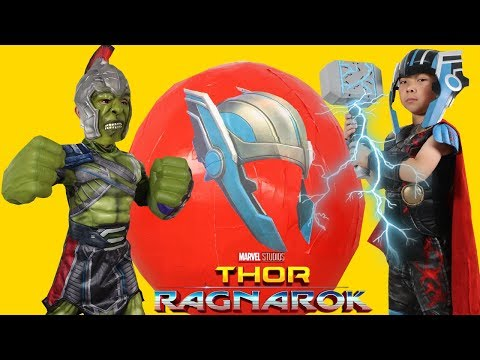 Giant Marvel Thor Ragnarok Toys Surprise Egg Opening Fun With Hulk Ckn Toys