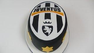 Juventus Turin Motivtorte | Fondanttorte mit Fussball Logo | einfache Schablonen Technik