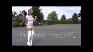 Tennis Fun in White Thigh Boots & Leather Mini Skirt