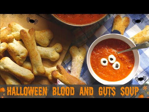 Halloween recipe Blood and Guts Soup with Eyeballs and Bones | UK Stay at Home Mum