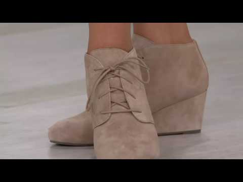 Vionic Orthotic Suede Lace-up Wedge Boots Becca on QVC