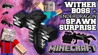 Dad surprises Son w/ Wither Boss Spawn!! + Multi-Ender Dragon Battle! (5 Year Old Face Cam) PC