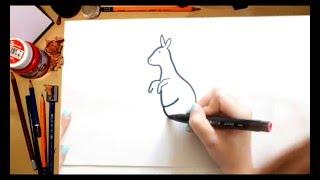 Como dibujar un Canguro - dibujos para niños