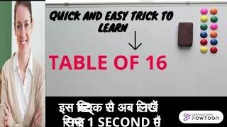 Quick & Easy maths trick to learn Table of 16 in 1 second | multiplication table of 16| Table16