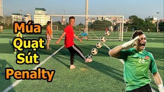 Thử Thách Bóng Đá mùa Asian CUP 2019 múa quạt sút penalty với thủ môn Đặng Văn Lâm Nhí siêu hài hước
