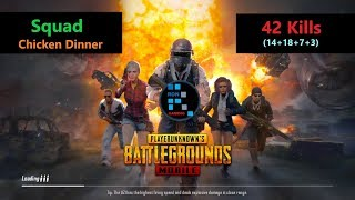"[Hindi] PUBG Mobile | ""42 Kills"" With Squad In Erangel Map Winner Winner Chicken Dinner"