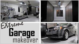 EXTREME GARAGE MAKEOVER   MAN CAVE   ORGANIZED GARAGE   BLACK AND GRAY