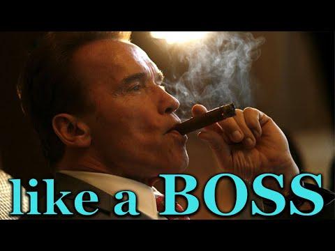 Arnold Schwarzenegger smoking cigars like a boss