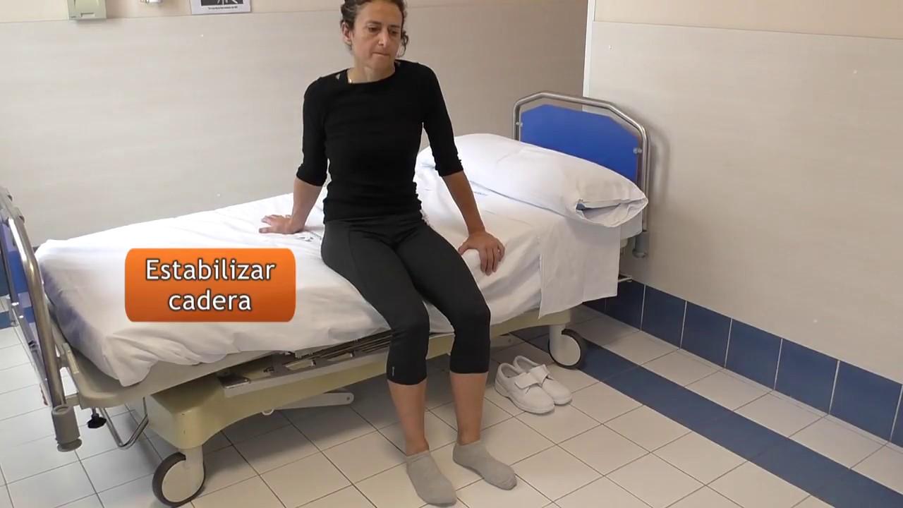 Vídeo sobre Escuela de cadera. Cama, subir y bajar sin ayuda.