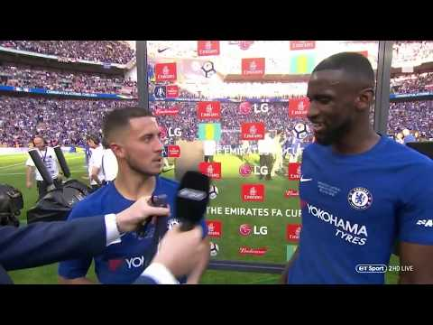"""Eden Hazard Please Stay!"" 🤣 Rudiger And Hazard's Brilliant Interview After Wining The FA Cup"