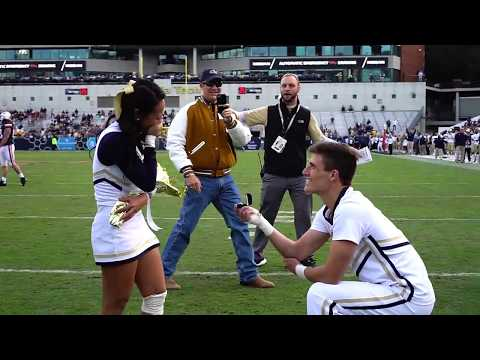 Georgia Tech Cheerleader Pops Surprise Proposal at Football Game