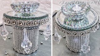 Dollar Tree DIY Glam Mirror Crystal Candle Holders
