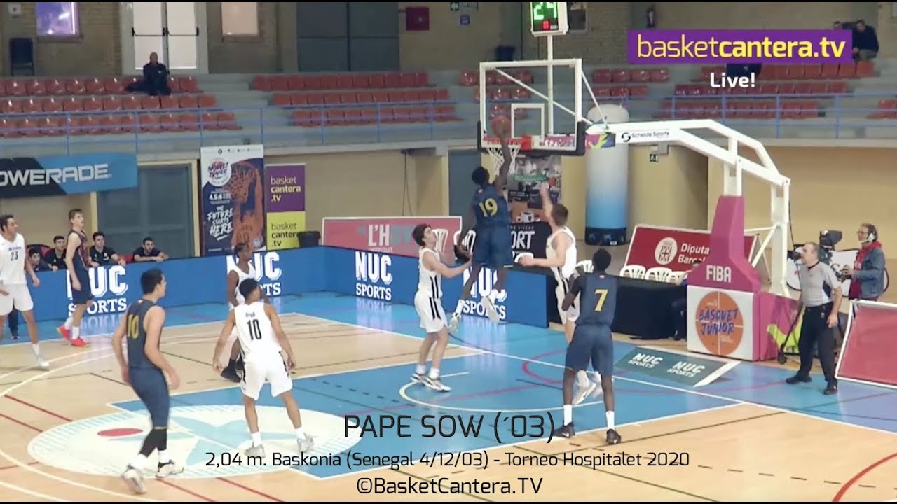 PAPE SOW (´03) Baskonia 2,04 m. Imágenes Torneo Junior Hospitalet 2020 (BasketCantera.TV)