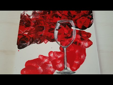 Fließtechnik Acryl mit Weinglas - fluid acrylic painting with wine glass
