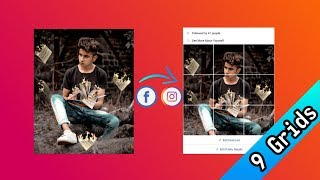 How to make grid for facebook featured photo - 9 grids/photo cuts | Facebook & Instagram