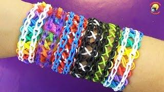 """Браслеты """"Двойная Бесконечность"""". Плетение из резинок Rainbow Loom / Bracelet Infinity gums lesson"""
