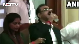 Watch: Mumbai Civic Official Accidentally Drinks Sanitiser Instead Of Water - Download this Video in MP3, M4A, WEBM, MP4, 3GP