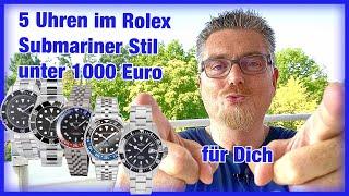 5x Rolex Submariner | GMT Stil unter 1000 Euro | Deutsche Uhrenmarken