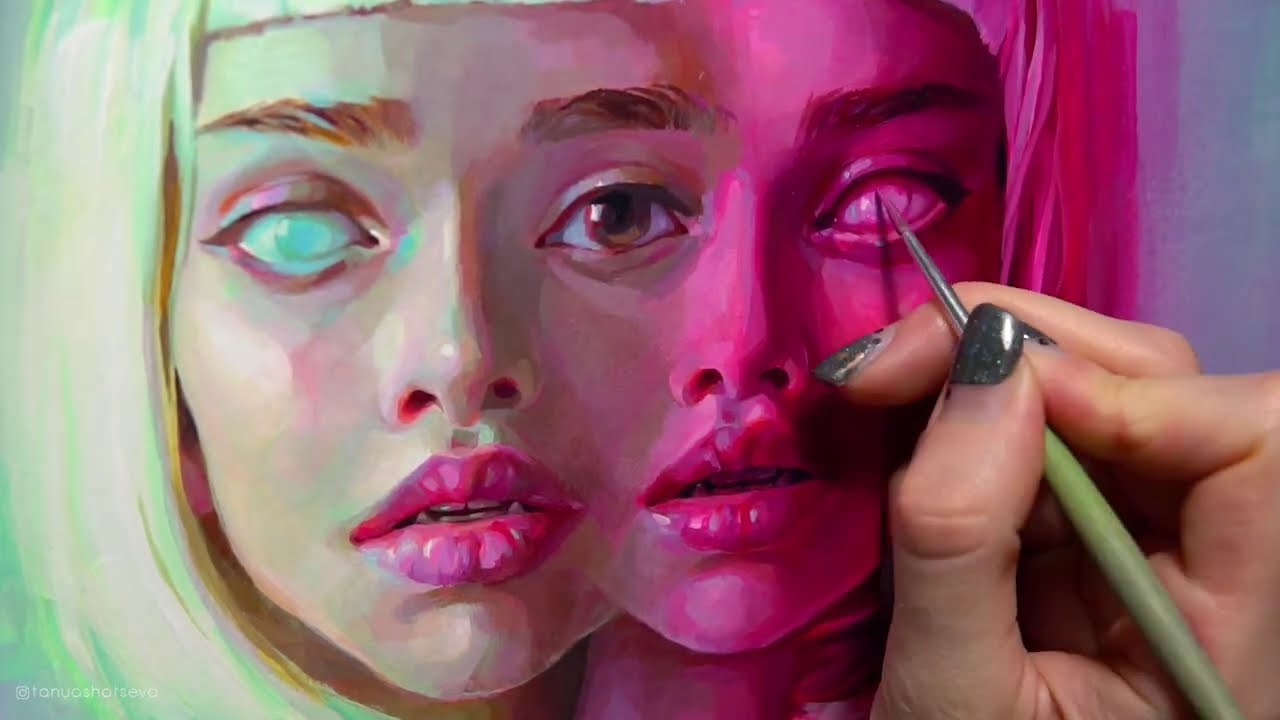 surreal twins painting time lapse by tanya shatseva