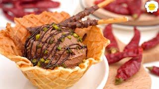 Chocolate Chili Waffle Ice Cream 巧克力辣椒华夫冰淇淋 Crème glacée au chocolat et au piment  à la gaufre
