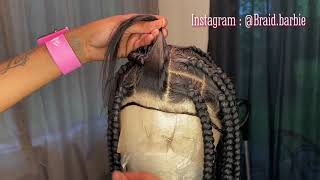 EASY WAY TO DO LARGE KNOTLESS BOX BRAIDS ON A FULL LACE WIG 👏🏽