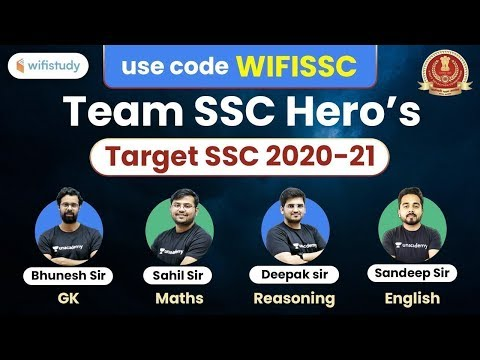 """SSC Exams 2020-21   Complete Course with TEAM SSC Hero's   Use Code """"WIFISSC"""" & Get 10% Off"""