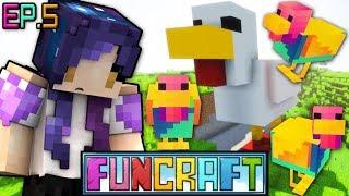 RAINBOW Chicken Dungeon & Getting Wings!! | FunCraft Minecraft Ep. 5