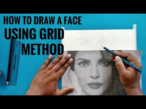 How to Draw a Face using Grid Method Part 1  |   Step By Step