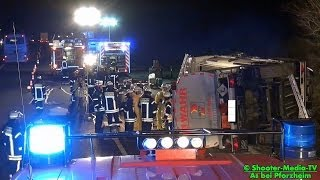 preview picture of video '[E] +++ A8 +++ Tanklastzug beim Unfall umgekippt ||| FEUERWEHR PFORZHEIM IM EINSATZ ||| [VU]'
