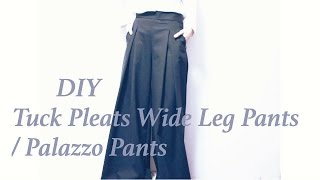DIY Tuck Pleats Wide Leg Pants / Palazzo Pantsㅣmadebyaya