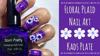 Floral Plaid Nail Art | KADS | MoYou London Hipster