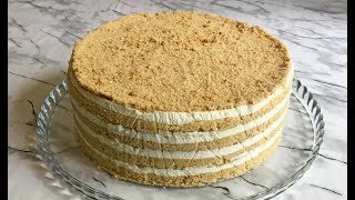 Торт из 4-х Ингредиентов / Торт Без Выпечки Слоями / Торт из Печенья / Without Baking Cake