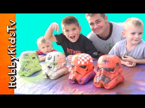 Star Wars STORMTROOPER Helmet Painting Contest with HobbyKidsTV
